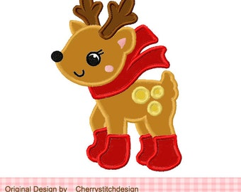 """Christmas Embroidery Design reindeer Machine Embroidery Applique Design-4x4 5x5 6x6"""""""