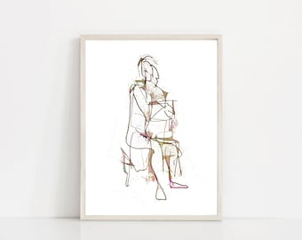 Modern Blind Contour Illustration. Picasso Line Drawing. Minimal Line Art. Minimalist. Abstract Modern Art. Abstract Drawing. Figure Drawing