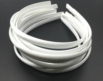 10pieces white satin plastic hair headband covered 10mm wide