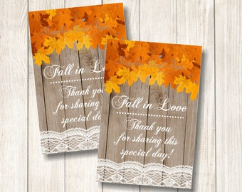 Fall in Love Favor Tags, Fall Leaves Favor Tags, Maple Leaves Barn Wood and Lace Favor Tags, Printable Rustic Thank You Tags, Bridal Tags