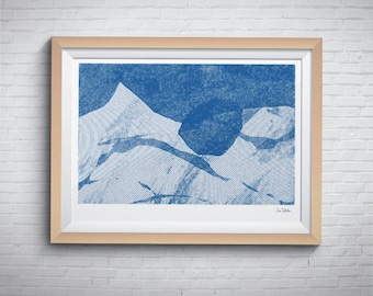 Abstract art print, Blue printable art, Digital prints, Fathers day gift, Downloadable art, Printable wall art, Wall décor, Gift for him