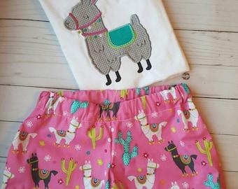 Llama ruffle shorts - girls shorts - llama shorts - ruffle shorts cactus shorts -  llama outfit