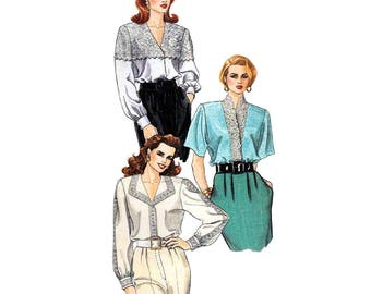 Blouse Pattern McCalls 5709 Lace Trimmed Blouse Palmer Pletsch Womens Size 12 or 16 Sewing Pattern