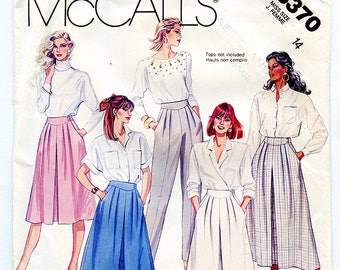 Vintage McCalls 3370 Women's Skirt, Culotte and Pants UNCUT Sewing Pattern Size 14 Waist 28 Medium