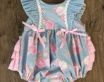 Chambray Pink Rose Ruffle Romper 6-12 months