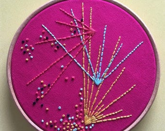 Pink sunbursts embroidered wall art