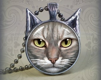 TBW16 Grey and White Tabby Cat pendant
