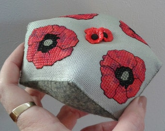 Poppy Biscornu Pincushion pdf pattern by Cherry Parker