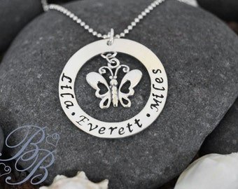Personalized Jewelry - Hand Stamped Jewelry - Mother's Necklace - Charm Necklace