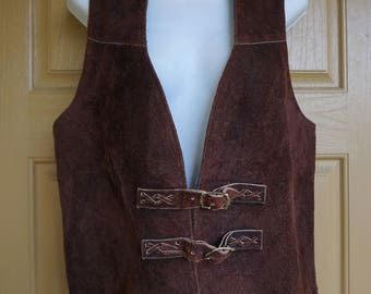 Vintage 70s 1970s men's vest small heavy warm insulated suede leather 1980s 1990s fleece lining