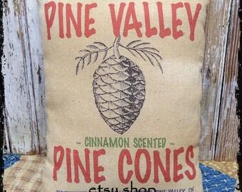 Handmade Primitive Pine Cone Christmas Feedsack Style Pillow or Panel #24