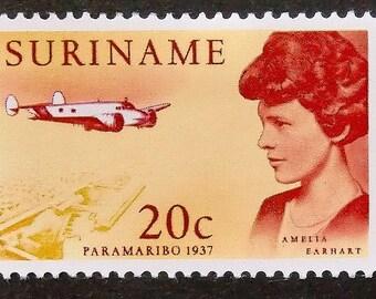 Amelia Earhart Paramaribo 1937 Aircraft -Handmade Framed Postage Stamp Art 15322AM