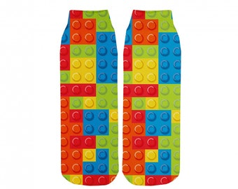 Socks lego toys colorful playful red blue green yellow toy