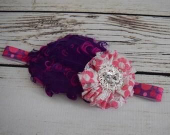 Polka Dot Headband - White Purple and Hot Pink Baby Headband - Vintage Style Baby Girl Headband - Feather Bows -Polka Dot Birthday Accessory