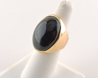 Size 6 Gold Tone Black Glass Chunky Oval Ring