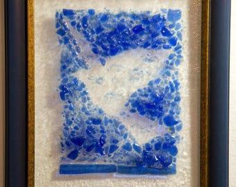 Fused glass dove