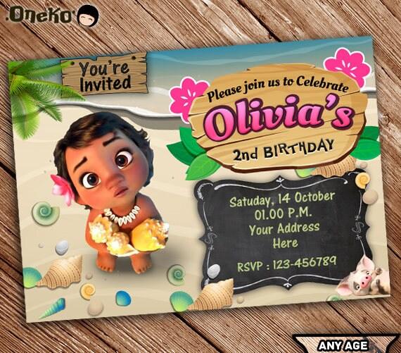 On Sale Off Moana Birthday Invitation Pool Party Printable