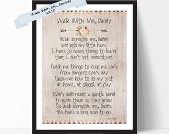 Fathers Day Print Walk With Me Daddy Footprints Poem