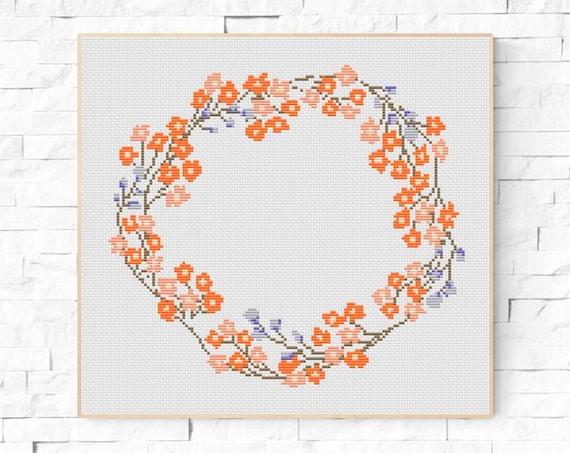 Floral Frame / Modern Cross Stitch Pattern / Flower Cross Stitch ...