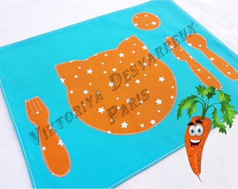 Kids Placemat, Montessori Placemat , Personalized gift , Place Setting, Montessori Practical Life, Toddler Gift, Homeschool, Kids gift