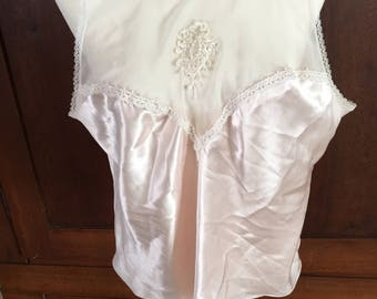XL /  Camisole / Cami / Pink Satin / Lace / Extra Large
