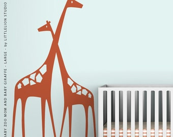 Baby Zoo Mom and Baby Girafffe - Large - Wall Decal by LittleLion Studio