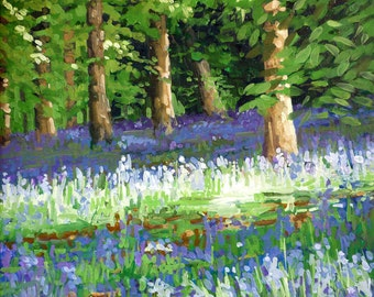 Bluebells mounted print of an original oil painting by Tracy Butler