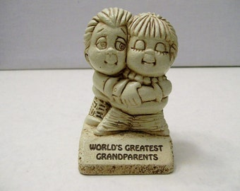 Vintage Retro 1979 World's Greatest Grandparents Figurine by Paula