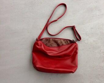 Maroon Leather Cross Body Purse // Adjustable Strap Burgundy Purse // Minimalist Purse