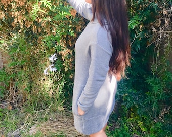 Pullover Sweater Dress with Turtle Neck and Long Sleeves.