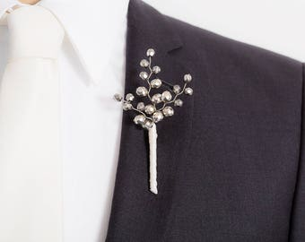 Limited Edition Taupe / Pale Gold Boutonniere - Light Golden - Mens  Boutonniere