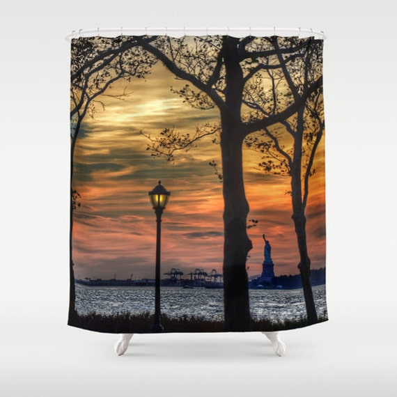 Sunset in New York, Shower Curtain, Landscape, Urban, Bathroom, Modern, Home Decor, Photography, City, Statue of Liberty, Dorm, Skyline