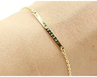 Gold Bar bracelet, Engraved Roman numerals bracelet, Wedding Date bracelet, Custom name Personalize bracelet, Nameplate Bridesmaids Gift
