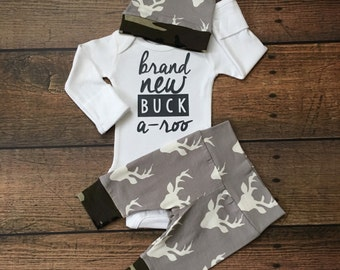 Newborn Baby boy Brand New Buckaroo coming home outfit Gray and Camo Deer theme going home set baby shower gift coming home from hospital