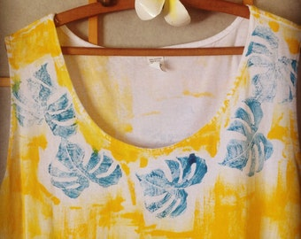 Hand painted dress hawaii dress cotton cover up plus size kauai hawaii best seller