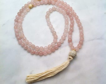 Rose Mala Necklace - Rose Quartz Mala Beads, Buddhist Prayer Beads, 108 Mala Beads for meditations on love, purity of heart, Product ID 1311