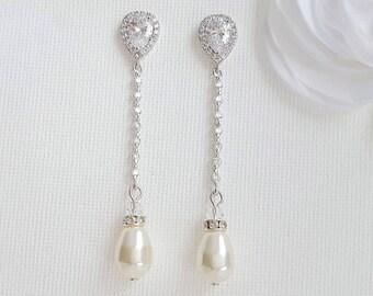 Wedding Pearl Earrings, Long Bridal Earrings, Crystal Pearl Drop Earrings, Swarovski Pearls, Teardrop Earrings, Wedding Jewelry, Jodi