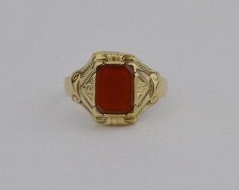 10k Yellow Gold Vintage Carnelian Ring Size 8 1/4