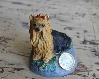 Yorkie Clock Figurine, Xanadu Clock, Mini Desk Clock, Yorkshire Terrier