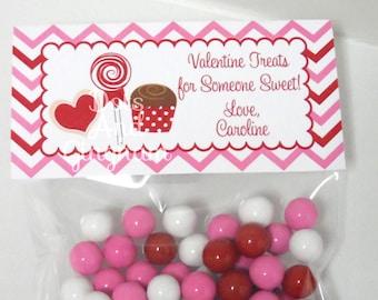 Valentine Treat Bag Topper-Valentine Chevron Sweets Treat Bag Topper-Printable Valentine-Sweets Treats Bag Topper-Printable Valentine Candy