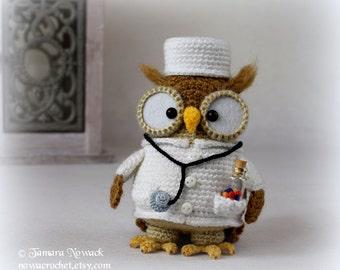 Doctorette the owl - amigurumi PDF crochet pattern ebook
