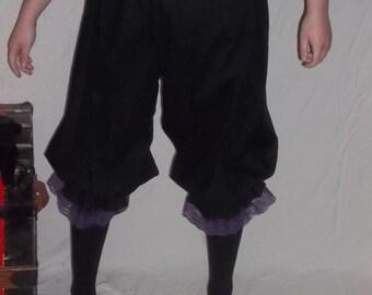 Plus black pantaloons with purple lace trim