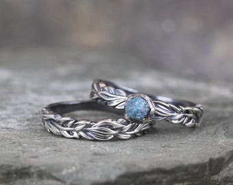 Raw Blue Diamond Leaf Design Band Engagement Ring - Rough Uncut Diamond Rings - Wilderness Wedding Set - Promise Rings - April Birthstone