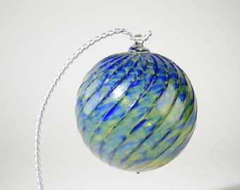 Hand Blown Glass Ornament Blue and Green Swirls