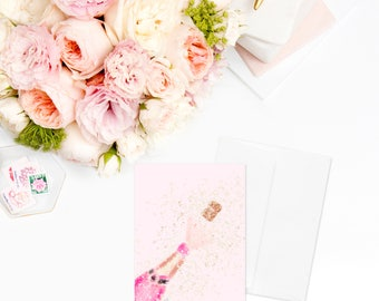 Pink Champagne Card | Greeting Cards For Her Stationary Sister Gift Best Friend Gift Gift Gift for Women Coworker Gift Gift for Her