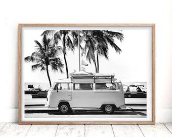 Modern Beach Decor, Coastal Art Decor, Modern Minimalist, Palm Tree Photography, VW Camper Print, VW Bus Becor, Retro Van, Digital Download