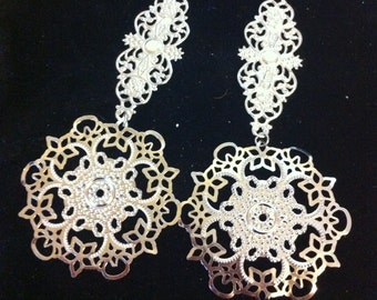Nickel Free Silver Plated Filigree Earrings, Ready to Ship, OOAK Jewelry, Large Dangle Earrings, Large Filligree Earrings