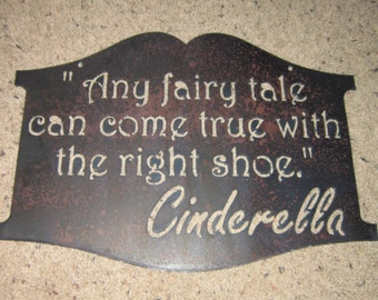 Cinderellas Shoe-Metal Art-Fairy Tale Art-Metal home Decor-Boutique Sign