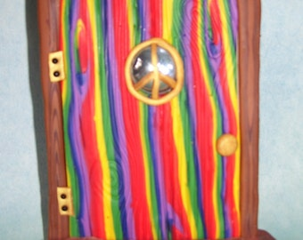 Rainbow wood-grain peace sign fairy door