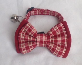 Cat Collar Bow Tie Set - Red Plaid - Availlable In 3 Sizes